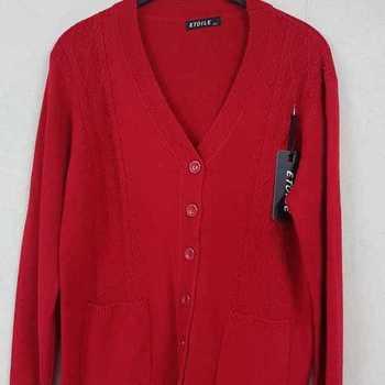 gilet boutonné avec poches - rouge 42/44