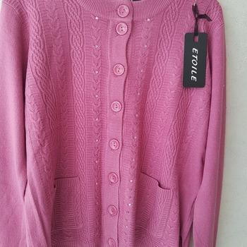 gilet boutonné avec poches pour dame - brillants vieux rose 46/48