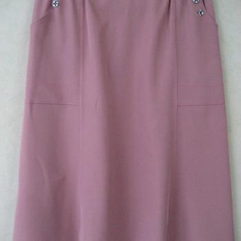 jupe godée avec 2 boutons aux poches pour dame - vieux rose 46/48