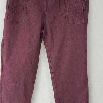 jeans taille élastique brodé aux poches pour dame - bordeau n°4