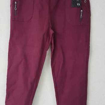 pantalon taille élastique strech molletonné pour dame - bordeau - 1- 3 - 4 - 7 - 8