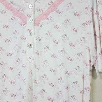 robe de nuit courtes manches coton jersey - ariel rose - reste S & M