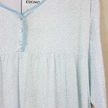 robe de nuit courtes manches coton pour dame - ariel turquoise - 3XL