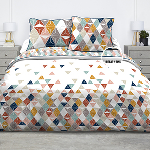 housse de couette 2.4*2.2m + 2 taies en 100% coton pour lit de 2 personnes - triangles multicolores