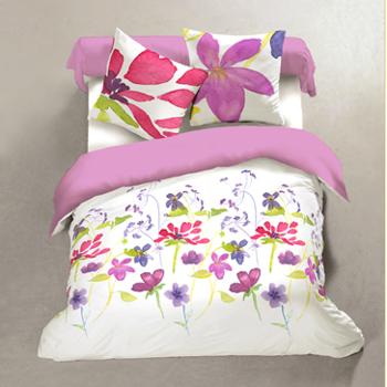 housse de couette 2.4*2.2m + 2 taies en 100% coton pour lit de 2 personnes - fleurs multicolores