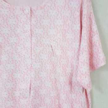 robe de nuit courtes manches coton pour dame - saumon L - XXL