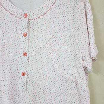 robe de nuit courtes manches coton pour dame - fond blanc saumon L - XL - XXL