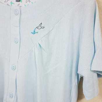 robe de nuit cotelé poly-coton pour dame - oiseaux vert reste S