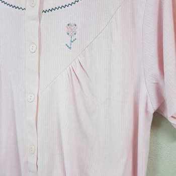 robe de nuit cotelé poly-coton pour dame - fleur saumon S - L - XXL