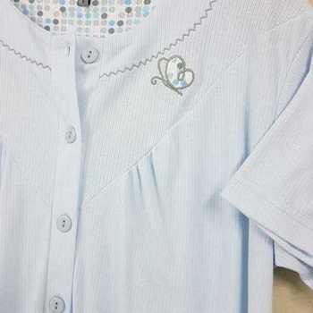 robe de nuit cotelé poly-coton pour dame - papillon ciel - reste S