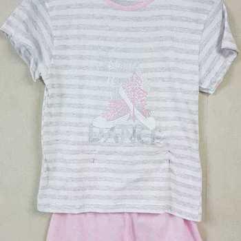 pyjashort coton jersey pour fille - time by dance gris 10 ans 16 ans