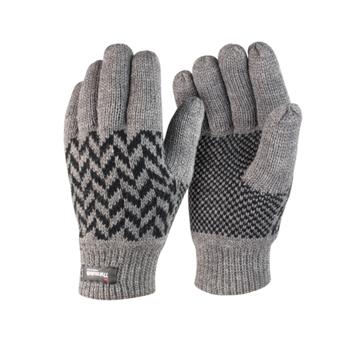gants tricot thinsulate jacquard gris r365