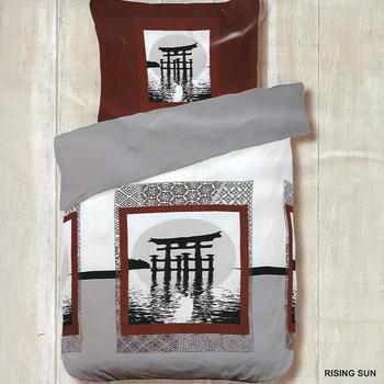 housse de couette 1.40*2m + 1 taie en polyester/coton (tergal) pour lit d'1 personne - rising sun