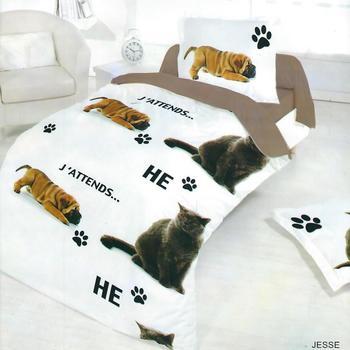 housse de couette 1.40*2m + 1 taie en coton pour lit d'1 personne - chien/chat