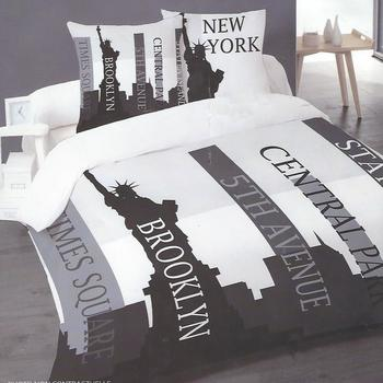housse de couette 1.40*2m + 1 taie en coton pour lit d'1 personne - new york towers