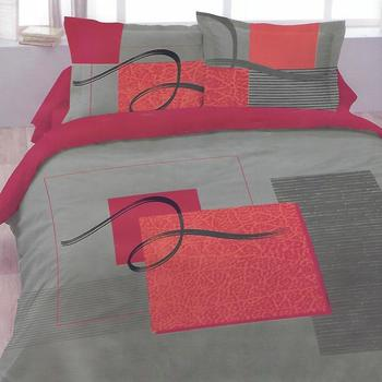 housse de couette 2*2m + 2 taies en polyester/coton (tergal) - gris rouge
