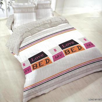 housse de couette 2.4*2.2m + 2 taies en polyester/coton (tergal) pour lit de 2 personnes - love in bed