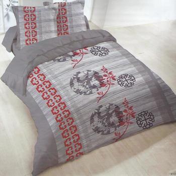 housse de couette 2.4*2.2m + 2 taies en polyester/coton (tergal) pour lit de 2 personnes - chinois gris