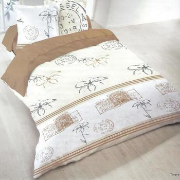 housse de couette 2.4*2.2m + 2 taies en polyester/coton (tergal) pour lit de 2 personnes - timbre