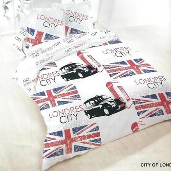 housse de couette 2.4*2.2m + 2 taies en 100% coton pour lit de 2 personnes - city of london