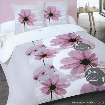 housse de couette 2.4*2.2m + 2 taies en 100% coton pour lit de 2 personnes - fleurs roses