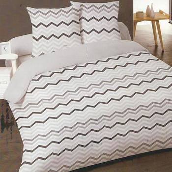housse de couette 2.4*2.2m + 2 taies en 100% coton pour lit de 2 personnes - zigzag