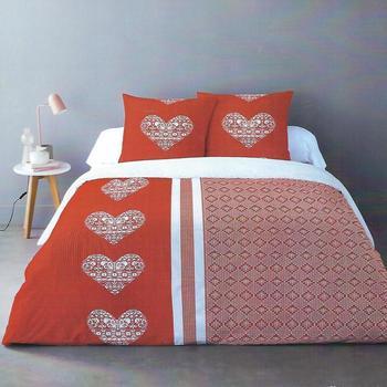 housse de couette extra grande 2.6*2.4m + 2 taies en flanelle avec boutons pour lit de 2 personnes - coeur rouge