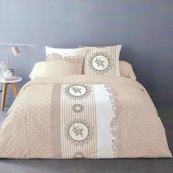 housse de couette extra grande 2.6*2.4m + 2 taies en flanelle avec boutons pour lit de 2 personnes - beige