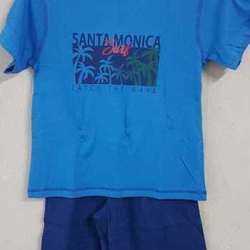 pyjashort coton pour garçons -  santa monica clair 8 ans 10 ans 12 ans 14 ans 16 ans
