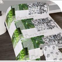 couette imprimée double face 1.40*2m pour lit d'1 personne - zen