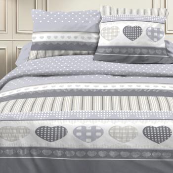 drap plat + drap housse 1.60*2m + 2 taies pour lit de 2 personnes - 100% coton - coeurs