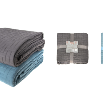 couvre-lit boutis fleuré pour lit de 2 personnes - gris ou bleu