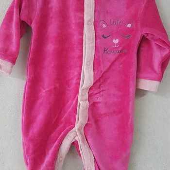 pyjama velours rasé biais rose 0 mois 1 mois 3 mois