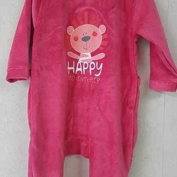 pyjama velours rasé happy rose 3 mois 6 mois 9 mois 12 mois 18 mois 24 mois