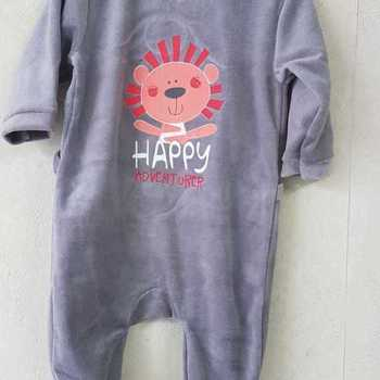 pyjama velours rasé happy gris 3 mois 6 mois 9 mois 12 mois 18 mois 24 mois