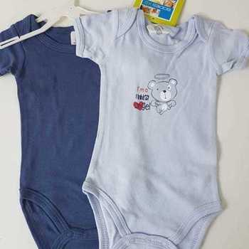 body courtes manches ange bleu 3 mois 6 mois 9 mois 12 mois 18 mois 24 mois : 2 pour 6€