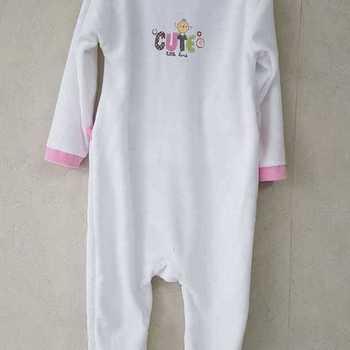 pyjama velours rasé cute biais écru 3 mois 6 mois 9 mois 12 mois 18 mois 24 mois