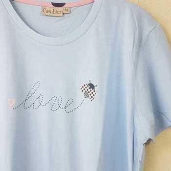 liquette courtes manches en coton jersey - love coccinelle ciel M - L - XL - XXL
