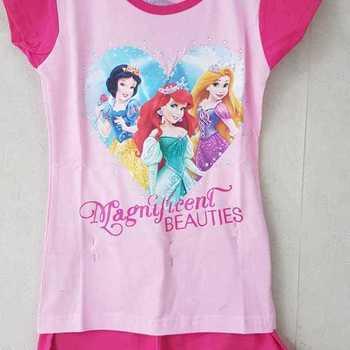pyjashort coton jersey princesses fuschia 3 ans 4 ans 5 ans 6 ans 8 ans