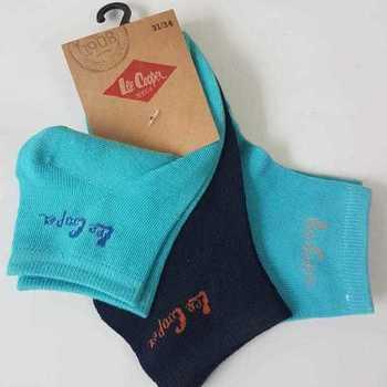 socquettes avec 75% coton lee cooper 27/30 31/34 35/37 turquoise - 3 paires pour 2.60€