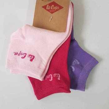 socquettes avec 75% coton lee cooper 31/34 35/37 rose - 3 paires pour 2.60€