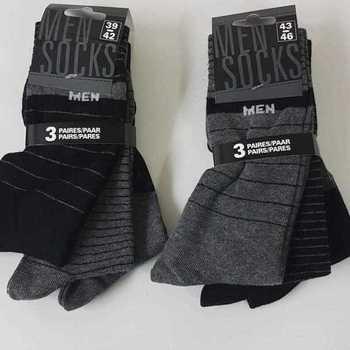 chaussettes avec 73% coton 39/42 43/46 : 3 paires pour 3.50€ dans les tons gris - noir