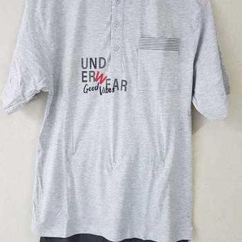 pyjashort coton jersey pour homme - underwear gris M - L - XL
