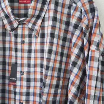 chemise longues manches carreaux orange noir 5XL en PROMO