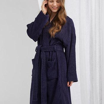 peignoir ou sortie de bain kimono en éponge marine unisexe S/M
