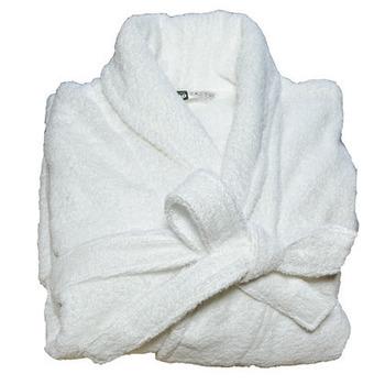 peignoir ou sortie de bain col châle en éponge blanc unisexe L/XL