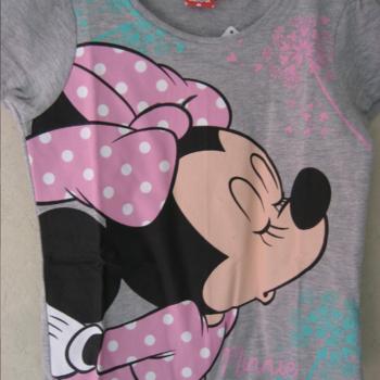 t-shirt coton minnie pour filles - gris 4ans - 5ans - 6ans - 7ans - 8ans