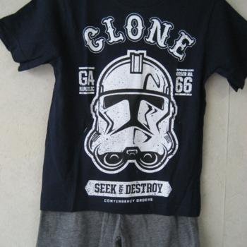 t-shirt + short star wars en coton pour les garçons - marine 5ans - 9ans