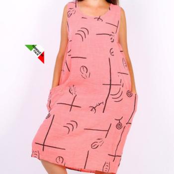 robe bain de soleil avec poches - coton élasthane - corail