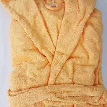 peignoir ou sortie de bain en éponge épaisse avec cape - jaune
